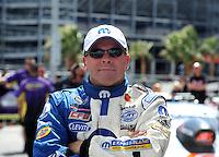Apr. 1, 2012; Las Vegas, NV, USA: NHRA pro stock driver Allen Johnson during the Summitracing.com Nationals at The Strip in Las Vegas. Mandatory Credit: Mark J. Rebilas-