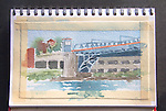 Fremont Bridge, watercolor and pencil, Journal Art 2009,