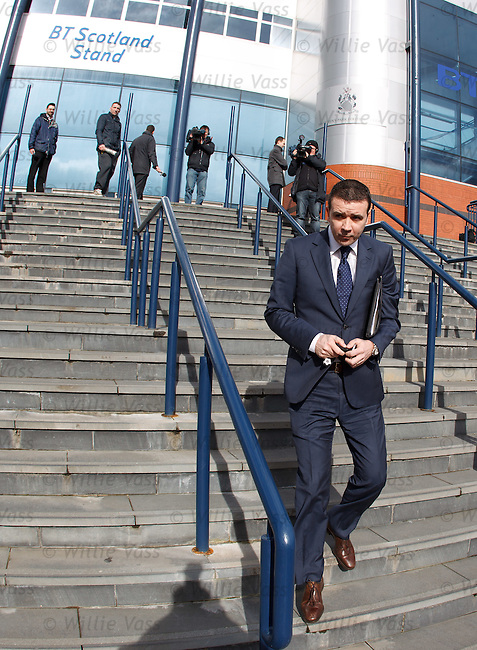 Andrew Dickson of Rangers leaving the SPL meeting at Hampden