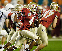 FSU Kick Return Specialist Kenny O'Neal takes this Penn State kickoff 34 yards in the second quarter of the 2006 FedEx Orange Bowl Game.  O'Neal returned two kickoffs for a total of 71 yards.