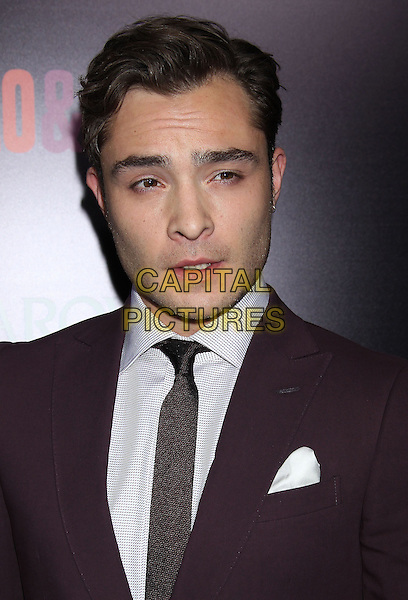 Ed Westwick<br /> &quot;Romeo &amp; Juliet&quot; Los Angeles Premiere held at Arclight Cinemas, Hollywood, California, USA.<br /> September 24th, 2013<br /> headshot portrait suit white shirt brown tie<br /> CAP/ADM/RE<br /> &copy;Russ Elliot/AdMedia/Capital Pictures