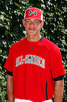 Pitcher Jose Orlando Berrios #7 poses for a photo before the Under Armour All-American Game at Wrigley Field on August 13, 2011 in Chicago, Illinois.  (Mike Janes/Four Seam Images)