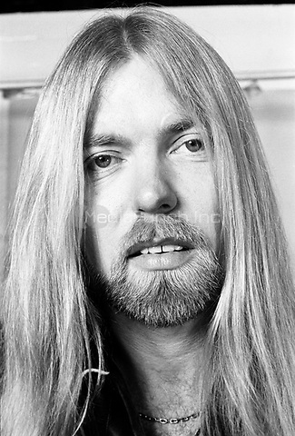 Gregg Allman photographed before a gig in Philadelphia, PA.<br /> December, 1981.<br /> &copy; Scott Weiner /MediaPunch.