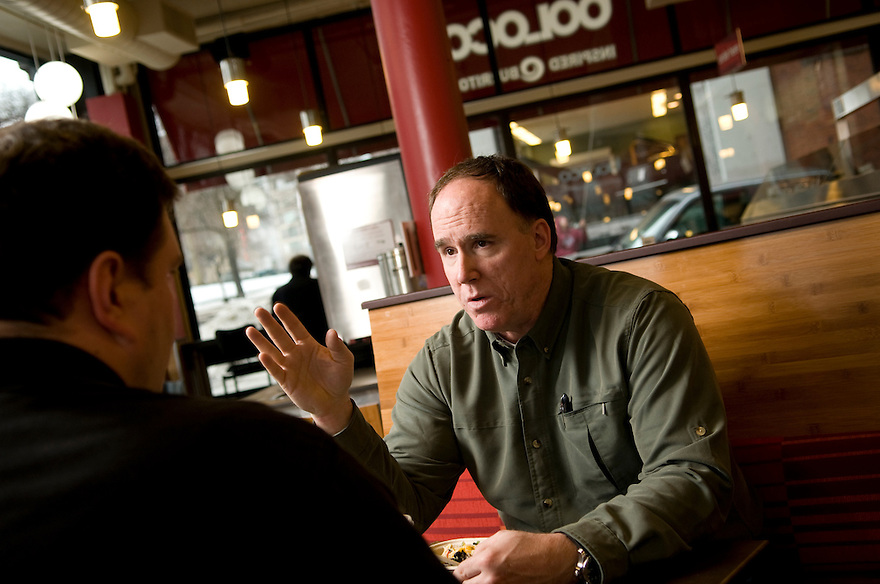 BOSTON, MA- FEBRUARY 10:  Boloco COO Michael Harder talking with store manager Jason Clay at their Boston Common store. (Photo by Jodi Hilton/Getty Images for Chain Leader)