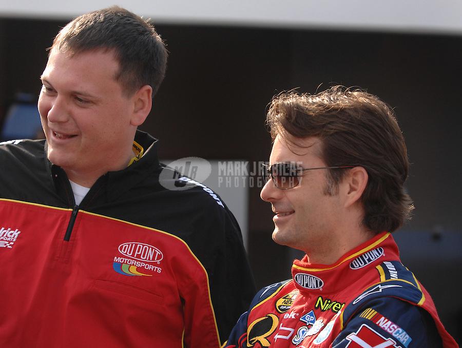 Feb 10, 2007; Daytona, FL, USA; Nascar Nextel Cup driver Jeff Gordon (24) with crew chief Steve Letarte during practice for the Daytona 500 at Daytona International Speedway. Mandatory Credit: Mark J. Rebilas