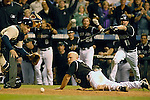 01 October  2007:  Colorado left fielder Matt Holliday scores the winning run as the Rockies defeat the San Diego Padres 9-8 to earn a place in the National League Wild Card Playoffs at Coors Field, Denver, Colorado.