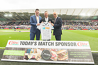 Swansea City match sponsor prior to kick off of the Premier League match between Swansea City and Huddersfield Town at The Liberty Stadium, Swansea, Wales, UK. Saturday 14 October 2017