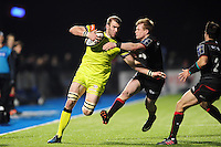Tom Croft of Leicester Tigers takes on the Saracens defence. Anglo-Welsh Cup match, between Saracens and Leicester Tigers on February 5, 2017 at Allianz Park in London, England. Photo by: Patrick Khachfe / JMP