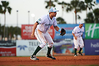 Daytona Tortugas third baseman Taylor Sparks (25) during a game against the Fort Myers Miracle on April 17, 2016 at Jackie Robinson Ballpark in Daytona, Florida.  Fort Myers defeated Daytona 9-0.  (Mike Janes/Four Seam Images)