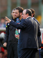 Gonzalo Higuain   Rafael Benitez    in action during the Italian Serie A soccer match between   SSC Napoli and Empolii    at San Paolo   stadium in Naples , December 07, 2014