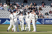 Lancashire celebrate the wicket of Nick Gubbins during Middlesex CCC vs Lancashire CCC, Specsavers County Championship Division 2 Cricket at Lord's Cricket Ground on 11th April 2019
