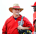 25 February 2012: Washington Nationals' Assistant Athletic Trainer Mike McGowan watches the team during the first full squad Spring Training workout at the Carl Barger Baseball Complex in Viera, Florida. Mandatory Credit: Ed Wolfstein Photo