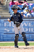Myrtle Beach Pelicans catcher Jorge Alfaro (24) throws back to the pitcher during a game against the Wilmington Blue Rocks on April 27, 2014 at Frawley Stadium in Wilmington, Delaware.  Myrtle Beach defeated Wilmington 5-2.  (Mike Janes/Four Seam Images)