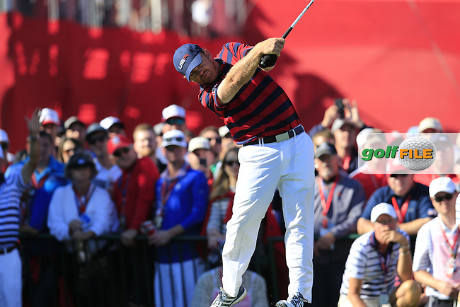J.B. Holmes US Team tees off the 11th tee during Saturday Afternoon Fourball Matches of the 41st Ryder Cup, held at Hazeltine National Golf Club, Chaska, Minnesota, USA. 1st October 2016.<br /> Picture: Eoin Clarke | Golffile<br /> <br /> <br /> All photos usage must carry mandatory copyright credit (&copy; Golffile | Eoin Clarke)