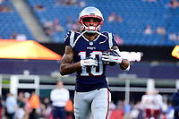 August 9, 2018: New England Patriots wide receiver Devin Lucien (10) warms up prior to the NFL pre-season football game between the Washington Redskins and the New England Patriots at Gillette Stadium, in Foxborough, Massachusetts.The Patriots defeat the Redskins 26-17. Eric Canha/CSM