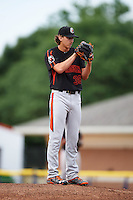 Aberdeen IronBirds starting pitcher Hunter Harvey (39) gets ready to deliver a pitch during a game against the Batavia Muckdogs on July 16, 2016 at Dwyer Stadium in Batavia, New York.  Aberdeen defeated Batavia 4-2.  (Mike Janes/Four Seam Images)