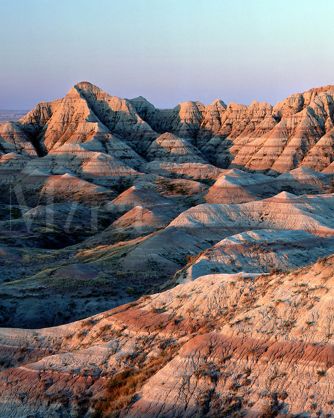 Mounds and pinnacles, Badlands National Park, South Dakota