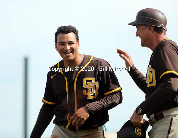 Trent Grisham (left), coach Glenn Hoffman (right) - San Diego Padres 2020 spring training (Bill Mitchell)