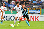11.08.2019, Carl-Benz-Stadion, Mannheim, GER, DFB Pokal, 1. Runde, SV Waldhof Mannheim vs. Eintracht Frankfurt, <br /> <br /> DFL REGULATIONS PROHIBIT ANY USE OF PHOTOGRAPHS AS IMAGE SEQUENCES AND/OR QUASI-VIDEO.<br /> <br /> im Bild: Daichi Kamada (Eintracht Frankfurt #15) gegen Mete Celik (SV Waldhof Mannheim #3)<br /> <br /> Foto © nordphoto / Fabisch