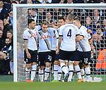 Tottenham's Christian Eriksen celebrates scoring his sides third during the Premier League match at White Hart Lane Stadium.  Photo credit should read: David Klein/Sportimage
