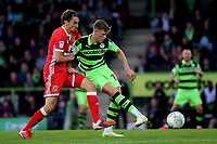 Charlie Cooper of Forest Green Rovers passes the ball under pressure from Ed Upson of MK Dons during Forest Green Rovers vs MK Dons, Caraboa Cup Football at The New Lawn on 8th August 2017