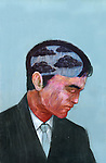 Illustrative image of businessman's head made of clouds and rain representing business failure