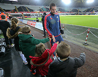 Gylfi Sigurdsson of Swansea arrives before the Barclays Premier League match between Swansea City and Watford at the Liberty Stadium, Swansea on January 18 2016