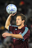 25 October 08: Rapids defender Jordan Harvey looks to throw in against Real Salt Lake. Real Salt Lake tied the Colorado Rapids 1-1 at Dick's Sporting Goods Park in Commerce City, Colorado. The tie advanced Real Salt Lake to the playoffs.