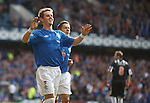 David Templeton celebrates his second and Rangers fourth goal with Ian Black