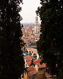 ITALY, Verona, elevated view of tower with cityscape and bridge