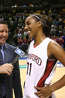 5 March 2007: Candice Wiggins talks with the media during Stanford's 62-55 win over ASU in the finals of the women's Pac-10 tournament championship at HP Pavilion in San Jose, CA.