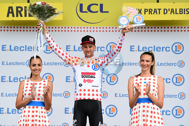 Tim Wellens (BEL) Lotto-Soudal retains the mountains Polka Dot Jersey at the end of Stage 15 of the 2019 Tour de France running 185km from Limoux to Foix Prat d'Albis, France. 20th July 2019.<br /> Picture: ASO/Alex Broadway | Cyclefile<br /> All photos usage must carry mandatory copyright credit (© Cyclefile | ASO/Alex Broadway)