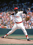 UNDATED:  Luis Tiant #23 of the Boston Red Sox pitches during a game circa 1971-78.  (Photo by Rich Pilling)