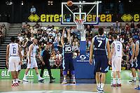 Nemanja Gordic of Bosnia & Herzegovina scores a free throw during the EuroBasket 2015 2nd Qualifying Round Great Britain v Bosnia & Herzegovina (Euro Basket 2nd Qualifying Round) at Copper Box Arena in London. - 13/08/2014
