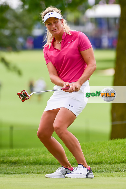 Suzann Pettersen (NOR) reacts to barely missing her putt on 10 during Thursday's round 1 of the 2017 KPMG Women's PGA Championship, at Olympia Fields Country Club, Olympia Fields, Illinois. 6/29/2017.<br /> Picture: Golffile | Ken Murray<br /> <br /> <br /> All photo usage must carry mandatory copyright credit (&copy; Golffile | Ken Murray)