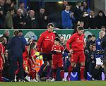 Steven gerrard walk out in his last ever Merseyside derby match - Barclays Premier League - Everton vs Liverpool - Goodison Park Stadium  - Liverpool - England - 7th February 2015 - Picture Simon Bellis/Sportimage