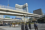 January 11, 2013, Tokyo, Japan - The Grand Prince Hotel Akasaka stands 30 meters shorter than the original height of 139 meters as demolition work continues at Tokyo's upscale residential and commercial area of Akasaka on Friday, January 11, 2013. Opened in 1955, the 39-story hotel once boasted spectacular night view of the nation's capital closed the visitors' book on its 55-year history in June 2011. Once the building is totally demolished, railway and hotel operator Seibu Holdings will construct two buildings - a 36-story structure consisting of offices, a hotel and a commercial complex; and a 24-story building comprising rental apartments that are scheduled to open in summer 2016. (Photo by Natsuki Sakai/AFLO)