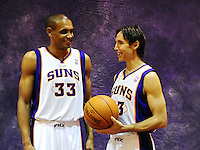 Dec. 16, 2011; Phoenix, AZ, USA; Phoenix Suns guard Steve Nash (right) and forward Grant Hill pose for a portrait during media day at the US Airways Center. Mandatory Credit: Mark J. Rebilas-