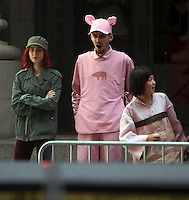 NEW YORK, NY-July 24: Lily Collins, Devon Bostick, Seo-Hyeon Ahn shooting on location for Netflix & Plan B Enterainment  film Okja in New York. NY July 24, 2016. Credit:RW/MediaPunch