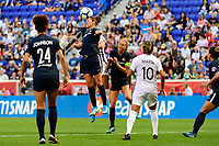 HARRISON, NJ - SEPTEMBER 29: Carli Lloyd #10 of Sky Blue FC goes up for a header during a game between Orlando Pride and Sky Blue FC at Red Bull Arena on September 29, 2019 in Harrison, New Jersey.