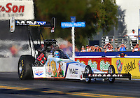Nov 7, 2013; Pomona, CA, USA; NHRA top fuel dragster driver Brandon Bernstein during qualifying for the Auto Club Finals at Auto Club Raceway at Pomona. Mandatory Credit: Mark J. Rebilas-