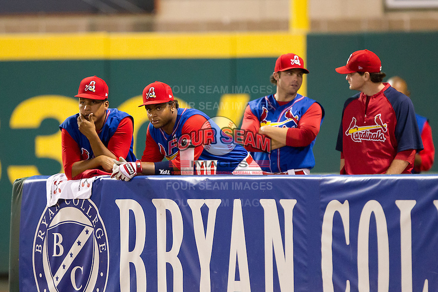 Audry Perez (10) of the Springfield Cardinals (right) stands in the bullpen with Jorge Rondon (40) (left) during a game against the Corpus Christi Hooks at Hammons Field on August 13, 2011 in Springfield, Missouri. Springfield defeated Corpus Christi 8-7. (David Welker / Four Seam Images)