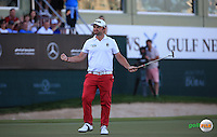 Andy Sullivan (ENG) draws equal on the final hole with leader Danny Willett (ENG) hoping for a playoff, during the Final Round of the 2016 Omega Dubai Desert Classic, played on the Emirates Golf Club, Dubai, United Arab Emirates.  07/02/2016. Picture: Golffile | David Lloyd<br /> <br /> All photos usage must carry mandatory copyright credit (&copy; Golffile | David Lloyd)