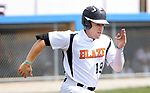 TORRINGTON CT. 04 Augusr 2017-080417SV09-#19 Chris Callahan of Watertown Blaze tries to beat the play to first in the 2nd inning against North Haledon Reds during the Stan Musial tournament in Torrington Friday.<br /> Steven Valenti Republican-American