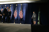 Chicago, IL - December 1, 2008 -- United States President-Elect Barack Obama and Vice President-Elect Joe Biden, far left, walk out of a press conference with United States Senator Hillary Rodham Clinton (Democrat of New York), nominated for Secretary of State, Monday morning at the Chicago Hilton & Towers.  At right is Susan Rice, nominated as United Nations ambassador..Credit: Anne Ryan - Pool via CNP