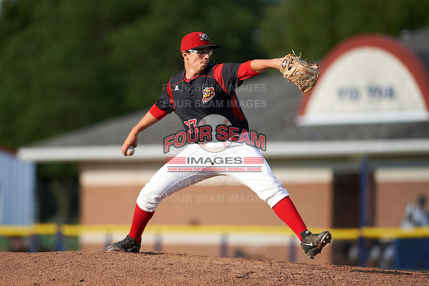 Batavia Muckdogs relief pitcher Alejando Mateo (37) during a game against the West Virginia Black Bears on August 21, 2016 at Dwyer Stadium in Batavia, New York.  West Virginia defeated Batavia 6-5. (Mike Janes/Four Seam Images)