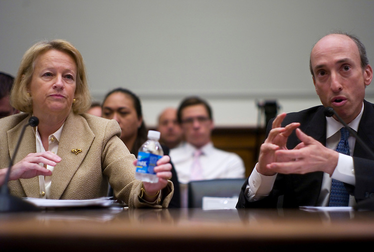WASHINGTON, DC - July 22: Securities and Exchange Commission Chairwoman Mary Schapiro and Commodity Futures Trading Commission Chairman Gary Gensler during the House Financial Services hearing on financial regulatory overhaul. (Photo by Scott J. Ferrell/Congressional Quarterly)