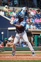 Trenton Thunder designated hitter Jhalan Jackson (32) at bat during a game against the Hartford Yard Goats on August 26, 2018 at Dunkin' Donuts Park in Hartford, Connecticut.  Trenton defeated Hartford 8-3.  (Mike Janes/Four Seam Images)