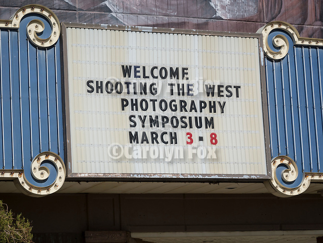 Winnemucca Convention Center Marquee welcoming Shooting the West Photography Symposium, March 3-8, Winnemucca, Nev.