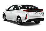 Car pictures of rear three quarter view of a 2020 Toyota Prius-Prime XLE 5 Door Hatchback angular rear